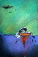 obraz Blendoidi, technika suchý pastel, Ticho: Sama na malém ostrově bych se podívala pod vodu.