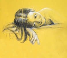 Autoportrét technika suchý pastel, uhel