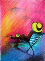 obraz Žlutý klobouk, technika suchý pastel