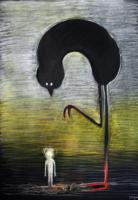 obraz Pták Noh, technika suchý pastel