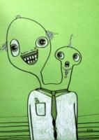 humorná kresba příšerky, portrét, malba, malý formát