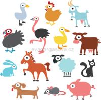 Zvířátka z farmy, vektorová ilustrace