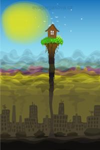 vektorová ilustrace na téma oáza, znečištění prostředí, únik ze smogu