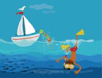 vektorová ilustrace na téma prázdniny, potápěč, loď, moře