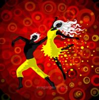 vektorová ilustrace na téma tanec, tanečníci