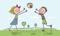 veselá vektorová ilustrace na téma dětská hra s míčem