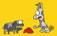 Haf, veselá vektorová ilustrace, hladoví psi