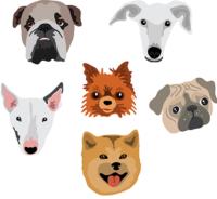 psí plemena, vektorová ilustrace na téma psí plemena, buldog, čivava, mops, bullteriér, chrt, husky