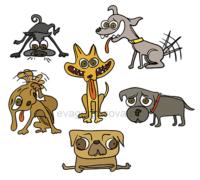 komiksová veselá ilustrace na téma pes