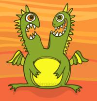 veselá vektorová ilustrace dvouhlavého zeleného draka