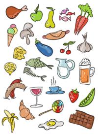 vektorová ilustrace na téma jídlo, restaurace, ikony