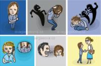 Ilustrace pro dětskou organizaci, smutné dítě