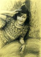 Portrét na zakázku, technika suchý pastel, uhel