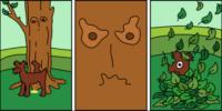 Pomsta stromu, komiks, vektor, ilustrace