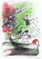 Zahrada, zvláštní sen, malba, suchý pastel