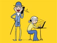 vektorová ilustrace na téma moderní důchodci surfujou na pc, technologie a senioři