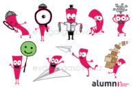 ilustrované ikony k emailům pro alumni všb